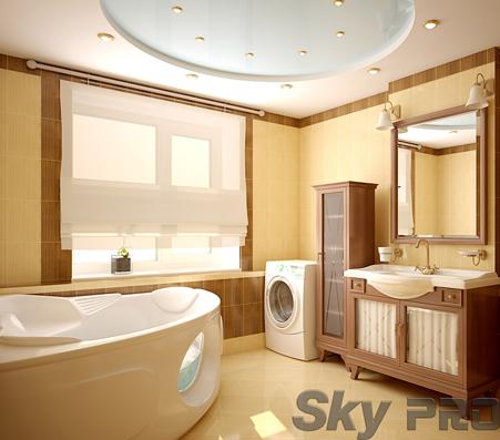 Многоуровневые натяжные потолки в ванной комнате фото